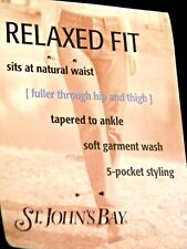 St John's Bay Black Denim Relaxed Fit Jeans Womens Sz 8 Long NWT