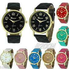 Fashion Women Geneva Watch Analog Faux Leather Casual Quartz Wrist Watch Digital