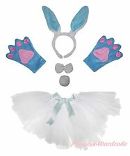 Easter Party Adult Women Blue Bunny Rabbit Headband Paw Tail Bow Skirt Costume