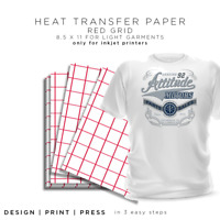 "Iron-on Heat Transfer Paper Light Fabrics - Red Grid 8.5"" x 11"" 25 sheets"