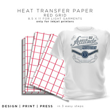 Iron-on Heat Transfer Paper Light Fabrics - Red Grid 8.5