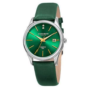 New Women's Akribos XXIV AK879GN Date Diamond Dial Green Leather Strap Watch