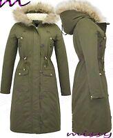 NEW LADIES WOMENS OVERSIZED FUR HOOD LONG MAXI LENGTH PARKA COAT JACKET WINTER