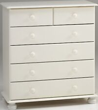Steens Richmond White 4+2 Chest of Drawers Metal Drawer Runners