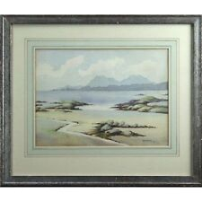 Low Tide White Sand Rock Pools Signed Framed Original Beach Watercolour Painting