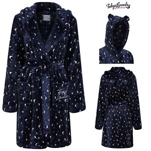 Womens Ladies Tokyo Laundry Soft Fleece Moons Dressing Gown Hooded Bath Robe
