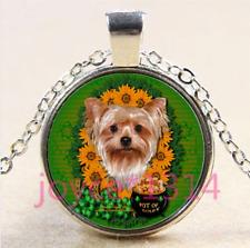 Yorkshire Terrier Cabochon Tibetan silver Glass Chain Pendant Necklace #4396