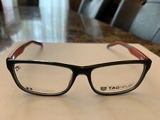 100% Authentic Men's Tag Heuer TH553 004 Black/Red Eyeglasses Frames 57/16/145MM