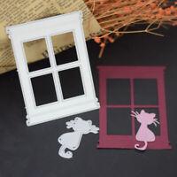 KQ_ Window Cat Metal Cutting Dies Scrapbook Album Cards Embossing Stencil Frame