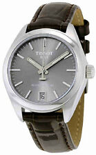 Tissot PR 100 Powermatic 80 Rhodium Dial Brwon Leather Band Watch T1012071607100