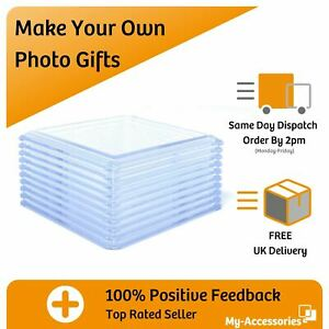 Photo Drinks Coaster Round Square Blank Clear Acrylic Insert Your Own Image DIY