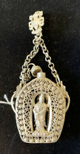 Rare Chinese old Tibet silver hand carved statue snuff bottle pendant Hallmarked