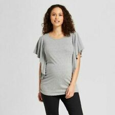 Ingrid & Isabel Maternity Flutter Sleeve Top Blouse Railroad Gray Small