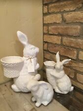 New Pottery Barn Garden Bunny Ceramic Large Medium And Small Easter Bunny