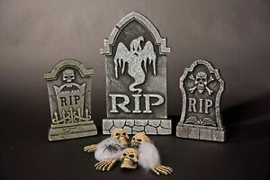 Grabstein Set, 12-teilig - Horror Halloween Grusel Schauder Party Dekoration