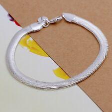 Wholesale 925Sterling Solid Silver Men Jewelry 6mm Chain Bracelet For Women H164