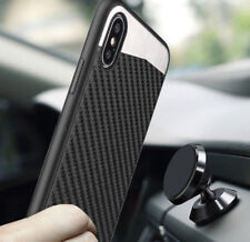 for iPhone X - Back Magnetic Black Carbon Fiber TPU Rubber Slim Fit Case Cover