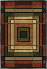 """Terracotta 2x8 Contemporary Geometric Runner Rug: Actual Size 2' 7"""" x 7' 4"""""""