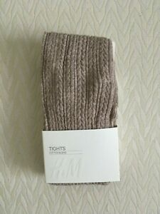 Nwt H&M Beige Tan Light Brown Cable Knit Pattern Tights Stockings Pantyhose S M