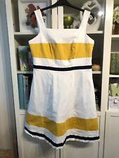 QQ57 South Plus Sz 18 White Navy&Mustard Yellow Cotton Dress