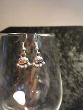 Small Cute Novelty Silver Tone Pair Dog/Cat/Animal Paw Print Dangly Earrings