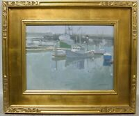 Contemporary CA Impressionism Plein Air Oil Boat Dock Harbor Signed PAUL STRAHM