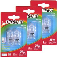 6 x Eveready G9 Eco 25W Halogen Bulb 250 Lumens 220V Clear Capsule Lamp