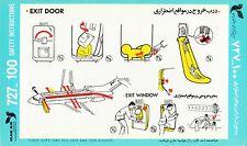 Safety Card IRANAIR Boeing 727-100 Iran Air Sicherheitskarte *RARE* Version 5