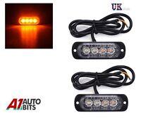 2 12/24v 4 LED Orange Amber Light Lamps Recovery Flashing Breakdown Strobe Grill