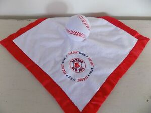 Boston Red Sox Baby Security Blanket Lovey Ball Baseball Plush Red and White