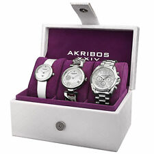 Akribos XXIV Women's Quartz Diamond Multifunction Strap/Bracelet Watch Set