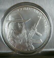 Western Freedom Girl Come and Take it 1 oz .999 silver cowgirl AK47 Molon Labe