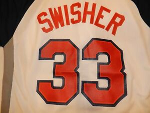 CLEVELAND INDIANS NICK SWISHER JERSEY SCRIPT INDIANS ON FRONT SWISHER #33 BACK