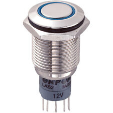 16mm Vandal Resistant SPST On-On Switch Blue LED Momentary Push-On Button Switch