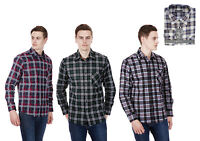 Mens Long Sleeve Cotton Flannel Checked Shirt