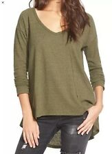 NWT Nordstrom's Sun & Shadow Junior V-Neck High-Low Knit Top Shirt M Olive Burnt
