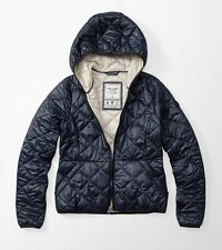 NWT Abercrombie & Fitch Women Primaloft Lightweight Hooded Puffer Jacket Navy XS