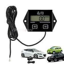 Digital Motorcycle LCD Racing Spark Plug Engine Tach Hour Meter Tachometer Gauge