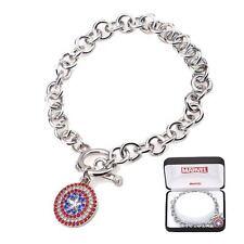 Captain America NIB * Shield Charm Bracelet * Bling Gems Silver Stainless Steel