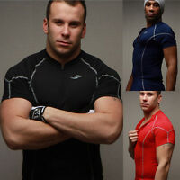 Men's Compression Skin Under Base Layer Top Tight Short Sleeve Jersey T-Shirt g