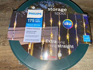 Philips ~ 175 Icicle Lights Christmas Indoor/Outdoor 14.5 Ft. Warm White LED