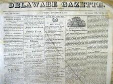 1825 Wilmington DELAWARE GAZETTE newspaper w JUDAICA Detailed report WORLD JEWS