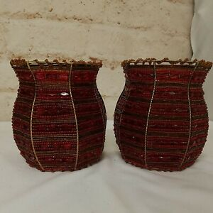 Pair of Partylite Beaded Moroccan Spice Tealight Sconces Red