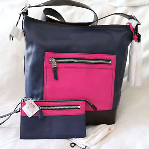 NWT COACH Duffle Leather Navy/Pink Crossbody Shoulder Bag+Wallet Set NEW $576