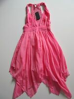 NWT GUESS Twisted Tank in Awesome Pink Sleeveless Macrame Lace Back Dress 8 $108