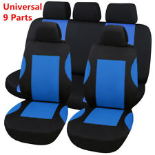 Blue Black Car Seat Cover Protector 9 Pcs/Set 100% Breathable