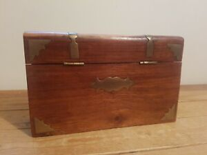 Pretty Wooden Box With Brass Detail