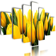 """HUGE EXTRA LARGE CANVAS PICTURES YELLOW TULIPS WALL ART SPLIT MULTI PANEL 80"""""""