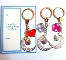 """I Love you to the Moon and Back""  Moon & Heart Keyring +Gift Tag"