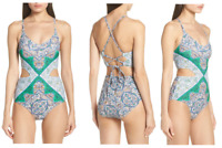 Tory Burch Cutout One Piece Swimsuit Size Large $218 NWT